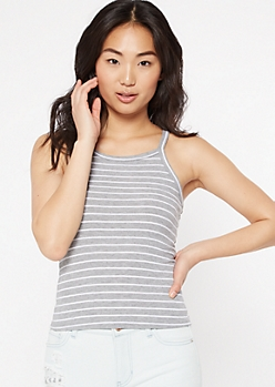 Gray Striped High Neck Cropped Tank Top