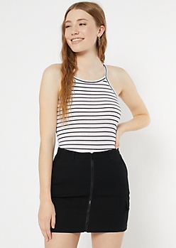 White Striped High Neck Cropped Tank Top