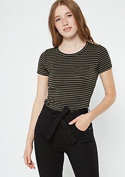 Olive Striped Chest Pocket Essential Tee