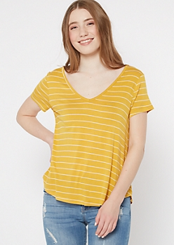 Mustard Striped Favorite V Neck Tee