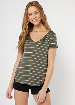 Olive Striped Favorite V Neck Tee