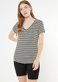 Olive Striped V Neck Pocket Favorite Tee