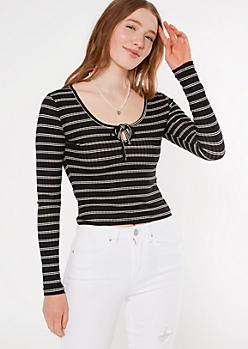 Black Striped Super Soft Keyhole Cutout Top