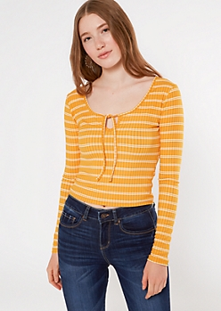 Mustard Striped Super Soft Keyhole Cutout Top
