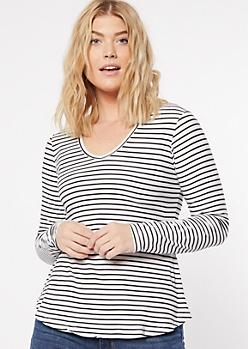 White Striped Print V Neck Super Soft Top