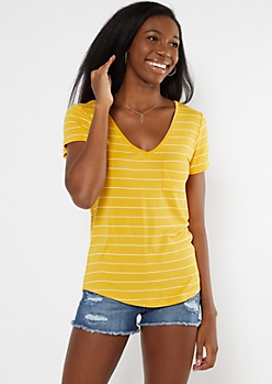 Yellow Striped Pocket V Neck Favorite Tee