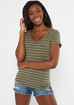 Olive Striped Pocket V Neck Favorite Tee