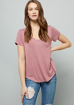 Medium Pink Striped V Neck Favorite Relaxed Fit Tee