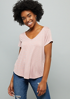Light Pink Striped V Neck Favorite Relaxed Fit Tee