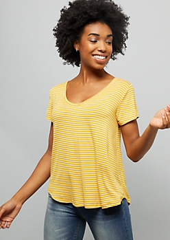 Mustard Striped V Neck Favorite Relaxed Fit Tee
