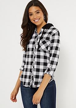 Black Plaid Print Waffle Knit Shirt