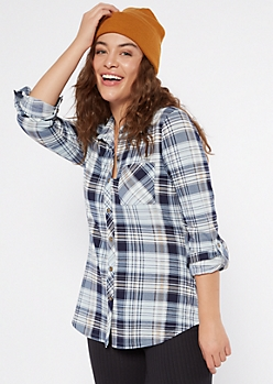 Blue Plaid Super Soft Roll Tab Shirt