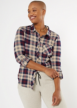 Navy Plaid Super Soft Roll Tab Shirt