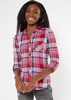 Red Plaid Super Soft Roll Tab Shirt
