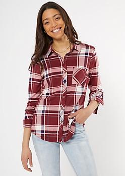 Dark Red Plaid Super Soft Roll Tab Shirt