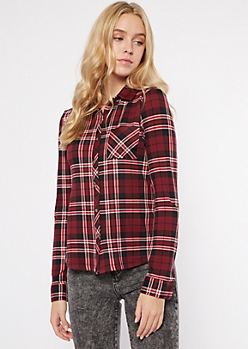 Burgundy Plaid Super Soft Roll Tab Shirt