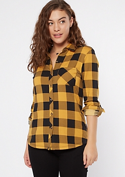 Mustard Plaid Super Soft Roll Tab Shirt