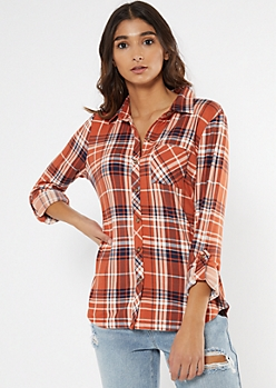Burnt Orange Plaid Super Soft Roll Tab Shirt
