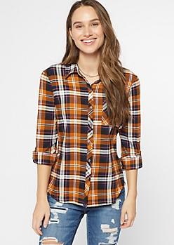 Orange Plaid Super Soft Roll Tab Shirt