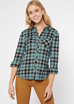 Teal Plaid Super Soft Roll Tab Shirt