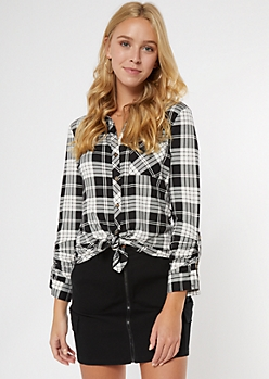 Black Buffalo Plaid Super Soft Roll Tab Shirt