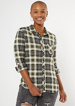Olive Plaid Super Soft Roll Tab Shirt