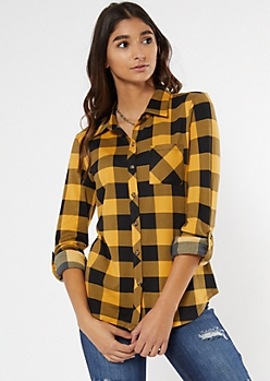 Yellow Buffalo Plaid Super Soft Roll Tab Shirt