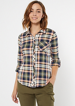 Peach Super Soft Plaid Print Button Down Shirt