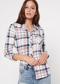 Mauve Super Soft Plaid Print Button Down Shirt