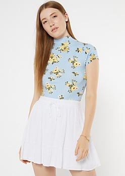 Blue Floral Print Mock Neck Super Soft Ribbed Top