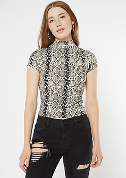 Snake Print Mock Neck Super Soft Ribbed Top