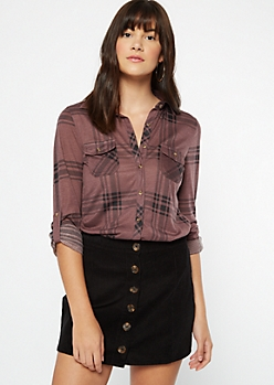 Purple Plaid Print Button Pocket Shirt