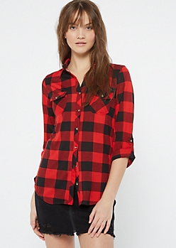 Red Plaid Print Button Pocket Shirt