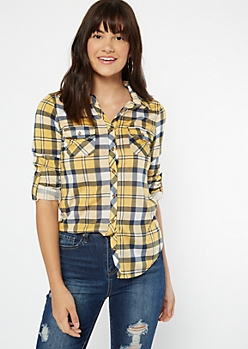 Mustard Plaid Print Button Pocket Shirt