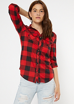 Red Buffalo Plaid Print Button Down Shirt