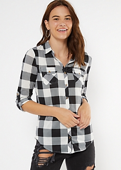 Black Buffalo Plaid Print Button Down Shirt