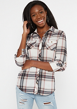 Taupe Plaid Roll Tab Button Down Shirt