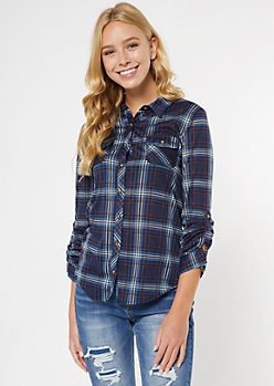 Blue Plaid Roll Tab Button Down Shirt