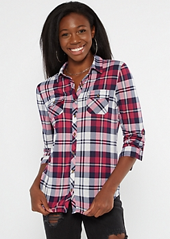 Purple Plaid Roll Tab Button Down Shirt