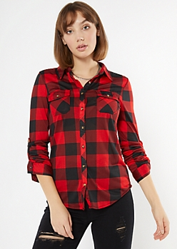 Red Plaid Roll Tab Button Down Shirt