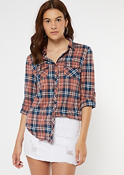 Burnt Orange Plaid Roll Tab Button Down Shirt