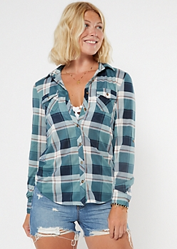 Teal Plaid Roll Tab Button Down Shirt