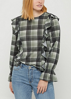Olive Plaid Print Ruffled Flannel Top