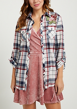 Americana Plaid Print Embroidered Rose Shirt