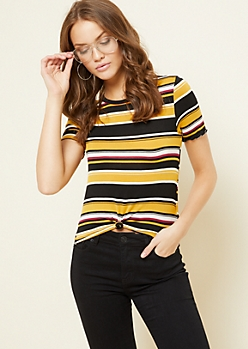 Mustard Striped Knot Front Skimmer Tee