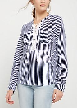 Blue Stripe Print Lace Up Blouse