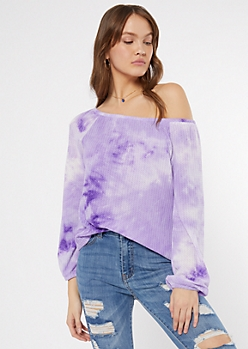 Purple Tie Dye Off The Shoulder Top