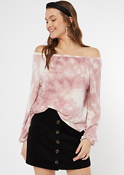 Pink Tie Dye Off The Shoulder Top