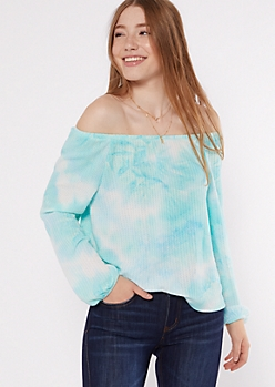 Aqua Tie Dye Off The Shoulder Top