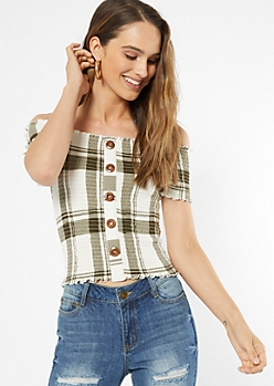 Olive Plaid Print Off The Shoulder Top